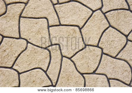 Rough Plaster Imitation Stones On Wall