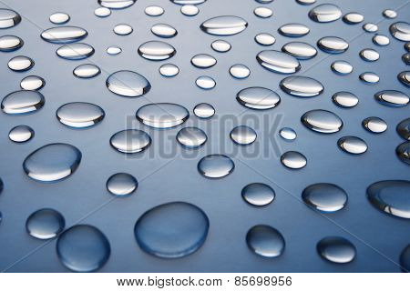 Drops Of Water On A Dark Blue Gradient Background