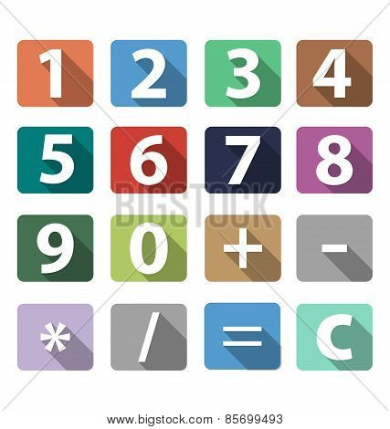 Calculator Buttons In Flat Design With Long Shadow Vector