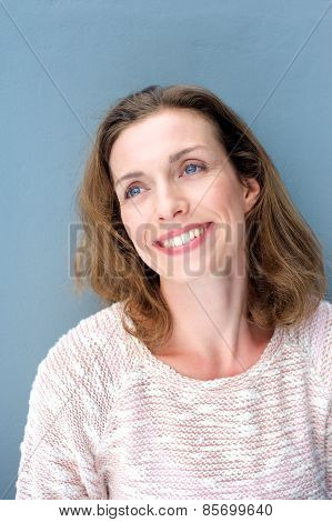 Natural Relaxed Older Woman Smiling With Sweater