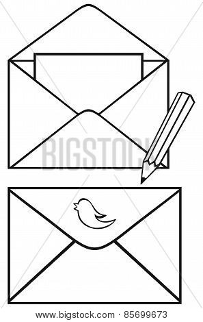 Open envelope with paper and pencil