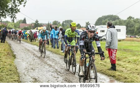 The Cyclist Michal Golas On A Cobbled Road - Tour De France 2014
