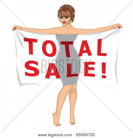 Sexy Girl Behind the Total Sale Banner