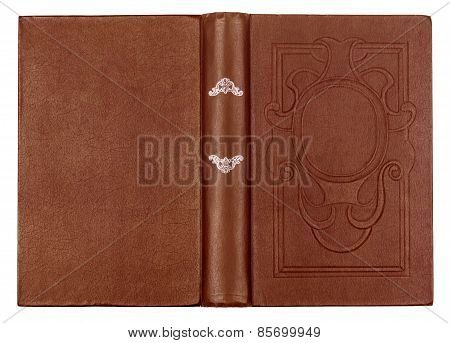 Vintage Brown Book With Embossed On An Isolated White Background