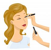 stock photo of makeup artist  - An Illustration Of A Applying Liquid Eyeliner with Clipping Path - JPG