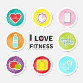pic of jump rope  - I love fitness round icon set isolated Timer whater dumbbell apple jumping rope scale note heart Flat design Vector illustration - JPG