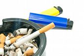 picture of cigarette lighter  - Lighters and cigarette in ashtray on white background - JPG