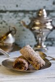 picture of biscuits  - sweet biscuit chocolate cake on wooden background - JPG