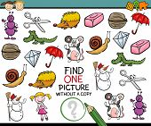 picture of brain-teaser  - Cartoon Illustration of Finding Single Picture without Copy Educational Game for Preschool Children - JPG