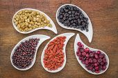 stock photo of teardrop  - dried superfruit collection  - JPG