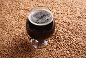 picture of malt  - Snifter glass with black stout beer standing over malted barley grains - JPG
