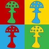 picture of hallucinogens  - Pop art amanita symbol icons - JPG