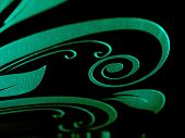 foto of laser beam  - Highlighted laser engraving on glass surface abstract pattern design concept - JPG
