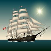stock photo of sail ship  - Sailing ship under full sail on the sea - JPG