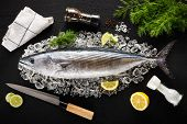 picture of saltwater fish  - Tuna fish and ingredients on ice on a black stone table top view - JPG