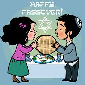 picture of matzah  - jewish children selebrated Pesah and read a blessing - JPG