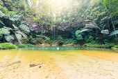 stock photo of tropical rainforest  - Dreamy multicolored natural pool hidden in the dense and umid rainforest of Lambir Hills National Park Borneo Malaysia - JPG