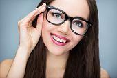 image of shot glasses  - Beautiful woman wearing glasses  - JPG