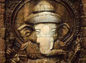 pic of ganesh  - Ganesh is revered old stone background texture - JPG