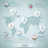 stock photo of step-up  - 3d vector world map illustration and infographics design template - JPG
