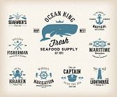 foto of kraken  - Vintage Nautical Labels or Design Elements With Retro Textures and Typography - JPG
