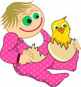 stock photo of baby chick  - Cartoon illustration of a baby girl holding and egg with an hatching chick - JPG