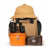 picture of binoculars  - Retro travel baggage with tropical hat and binocular - JPG