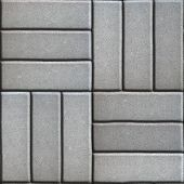 picture of slab  - Gray Paving Slabs of Three Rectangles Laid Out Perpendicular to Each Other - JPG