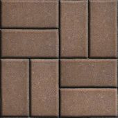 stock photo of slab  - Brown Paving Slabs of Rectangles Laid Out on Two Pieces Perpendicular to Each Other - JPG