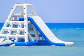 picture of inflatable slide  - Inflatable slide at a Caribbean Island resort - JPG