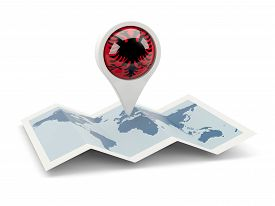 picture of albania  - Round pin with flag of albania on the map - JPG