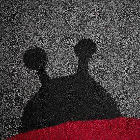 stock photo of linoleum  - The silhouette of a ladybug on linoleum - JPG