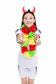 picture of pom poms  - asian happy cheerleader holding pom - JPG