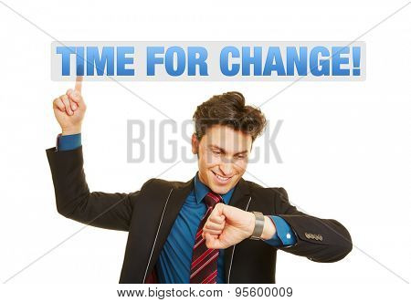Time for Business Change! as concept for a business man checking his watch