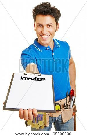 Smiling builder giving invoice on clipboard to customer