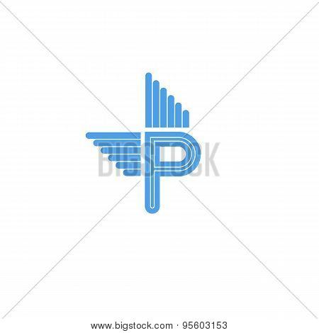 Letter P Logo With Blue Wings, Flying Concept Symbol For Business Card