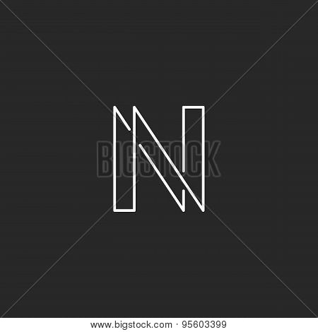 Letter N Monogram Modern Thin Line Graphic Design, Mockup Business Card