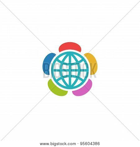 Globe Flower Colorful Logo, Charitable Foundation Or Volunteering Emblem
