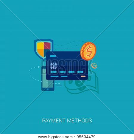 Credit or debit card online payment vector flat icon concept