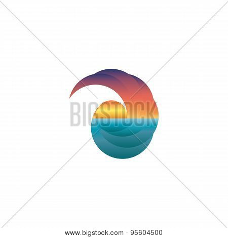 Summer Tourism Mockup Logo, Sun At Sunset, Design Travel Icon