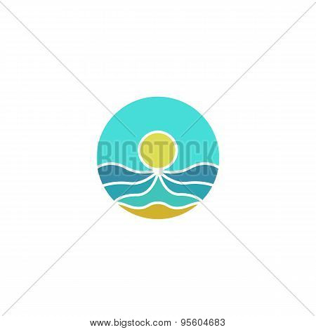 Tourism Mockup Logo, Sun, Sea, Sand Abstract Icon, Summer  Beach Travel Vector