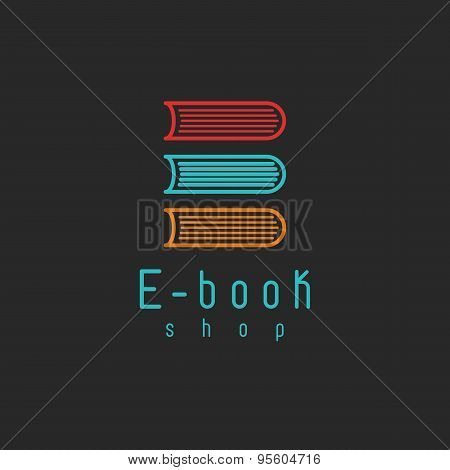 E-book Mockup Logo, Internet Education Or Learning Icon, Online Book Symbol