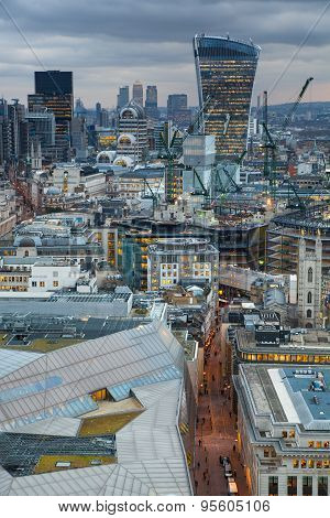 LONDON, UK - JANUARY 27, 2015: Shard of Glass, panoramic view City of London