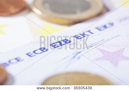 Euro Closeup On German Ezb Abbreviation