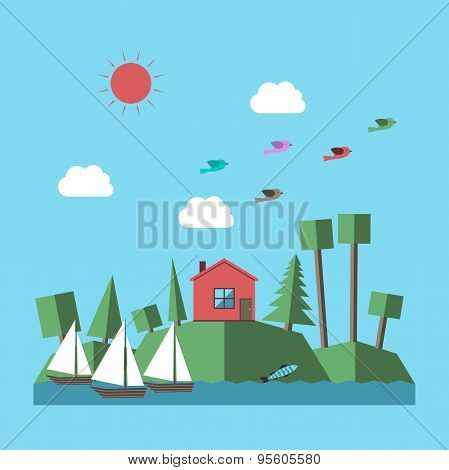 Landscape With Small House