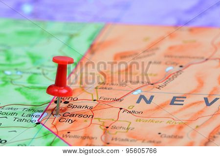 Carson City pinned on a map of USA