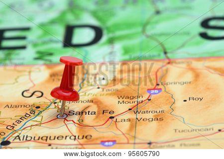 Santa Fe pinned on a map of USA