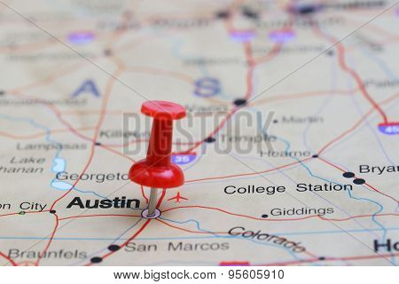 Austin pinned on a map of USA