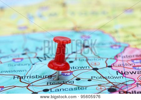 Harrisburg pinned on a map of USA