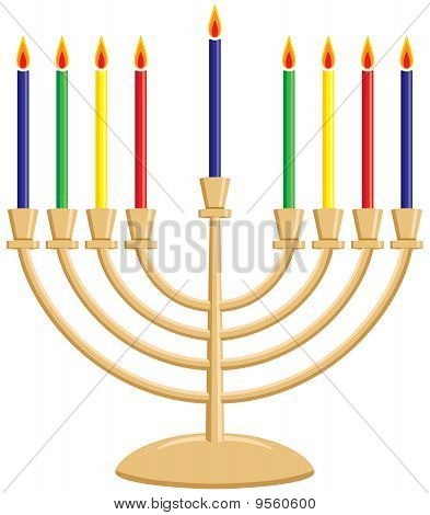 Hanukkah Menorah with Lit Candles